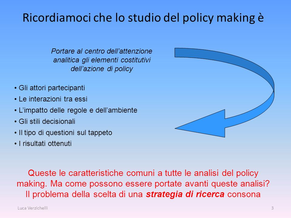 Ricordiamoci che lo studio del policy making è