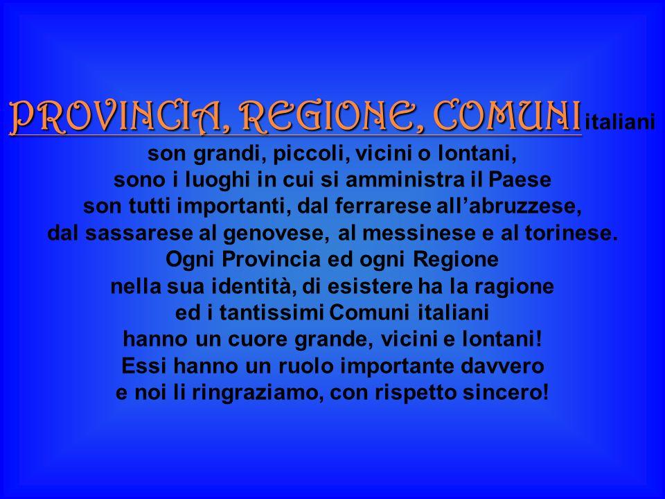 PROVINCIA, REGIONE, COMUNI italiani