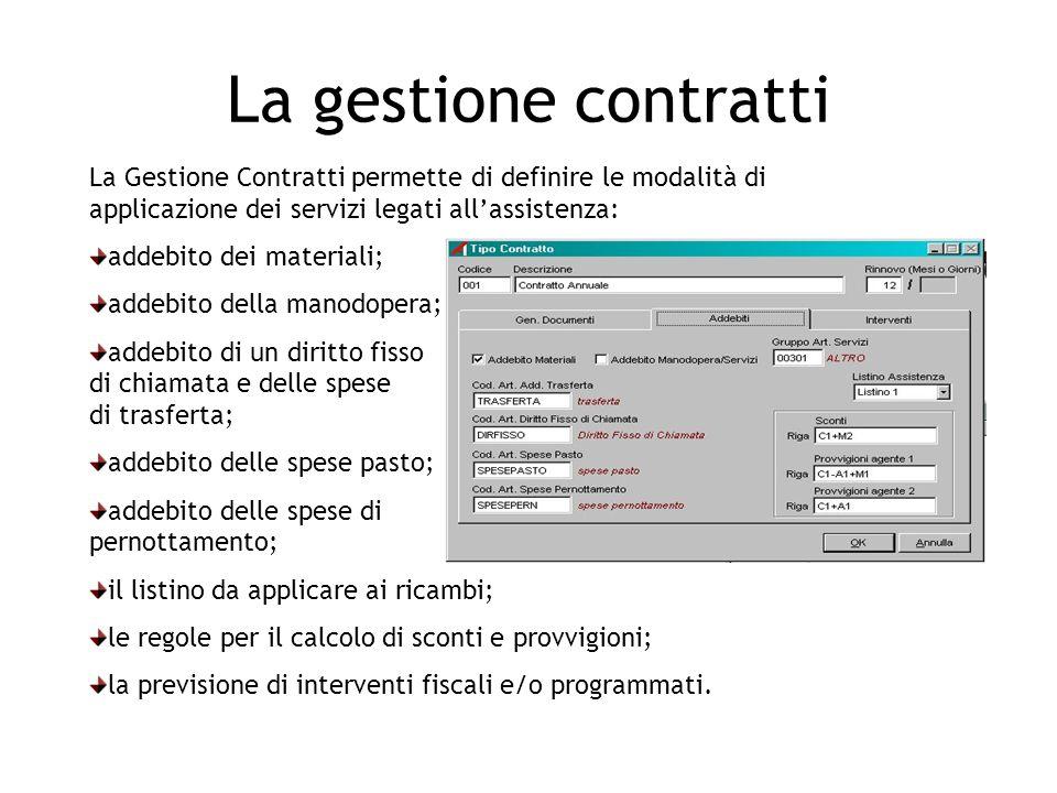 La gestione contratti La Gestione Contratti permette di definire le modalità di applicazione dei servizi legati all'assistenza: