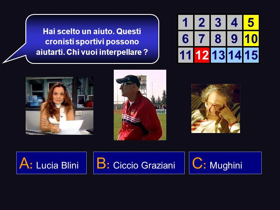 A: Lucia Blini B: Ciccio Graziani C: Mughini 1 2 3 4 5 6 7 8 9 10 11