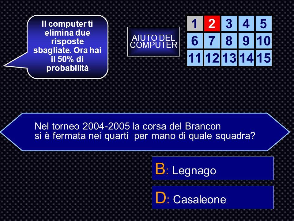 B: Legnago D: Casaleone 1 2 3 4 5 6 7 8 9 10 11 12 13 14 15
