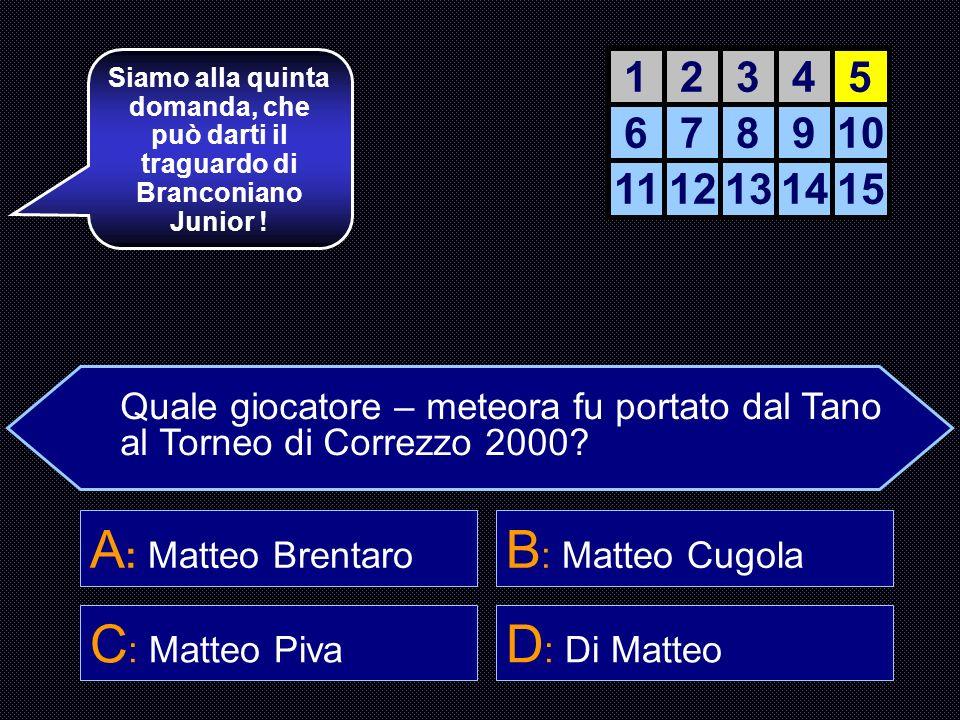 A: Matteo Brentaro B: Matteo Cugola C: Matteo Piva D: Di Matteo 1 2 3