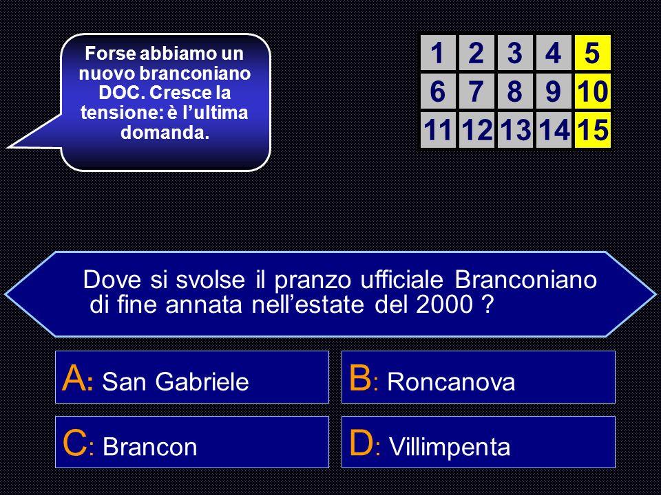 A: San Gabriele B: Roncanova C: Brancon D: Villimpenta 1 2 3 4 5 6 7 8