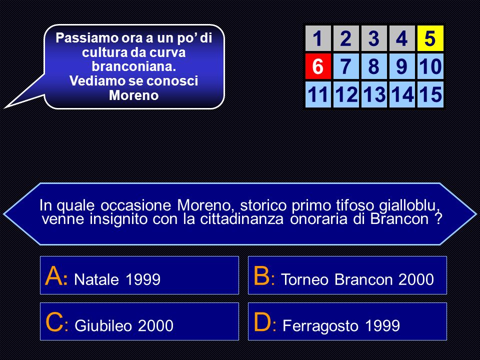 A: Natale 1999 B: Torneo Brancon 2000 C: Giubileo 2000