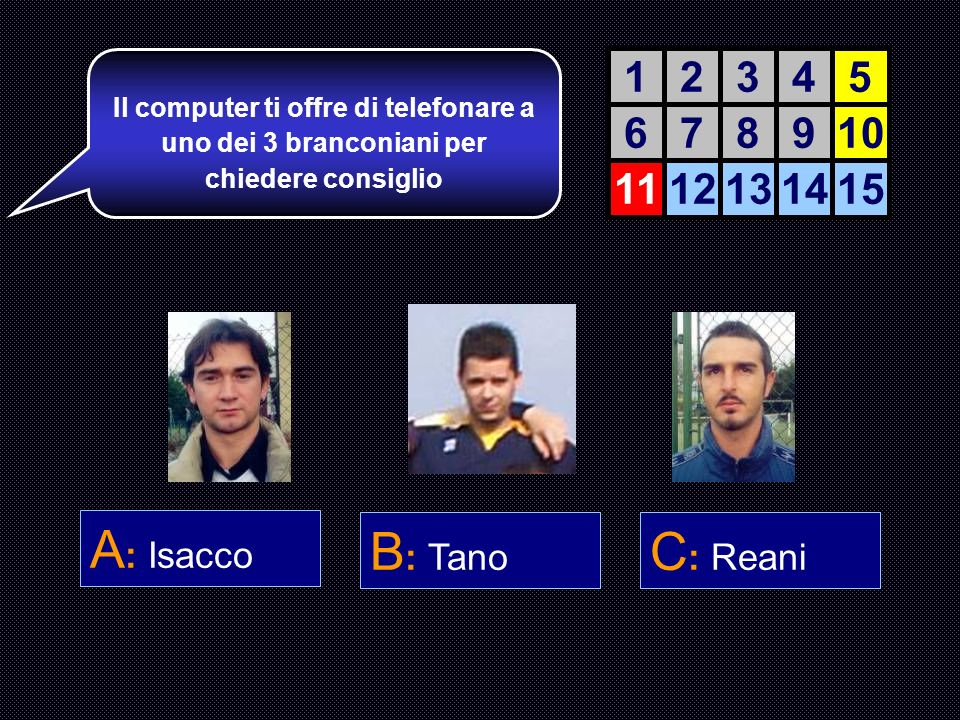 A: Isacco B: Tano C: Reani 1 2 3 4 5 6 7 8 9 10 11 12 13 14 15