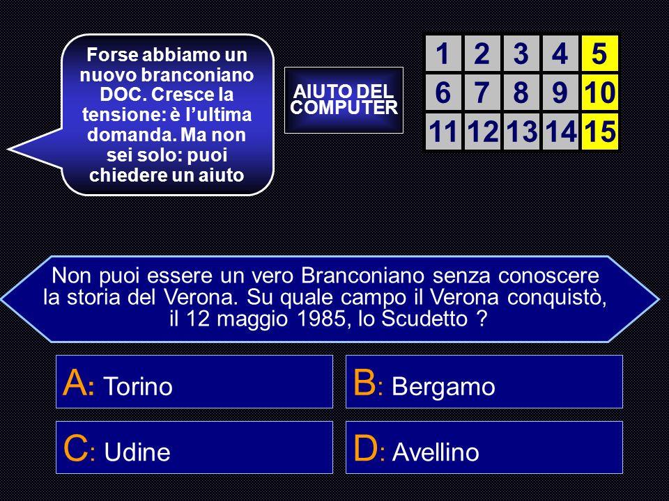 A: Torino B: Bergamo C: Udine D: Avellino 1 2 3 4 5 6 7 8 9 10 11 12