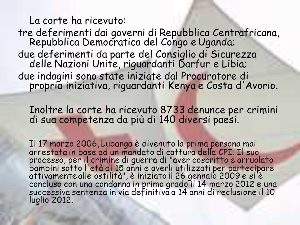 La corte ha ricevuto: tre deferimenti dai governi di Repubblica Centrafricana, Repubblica Democratica del Congo e Uganda;