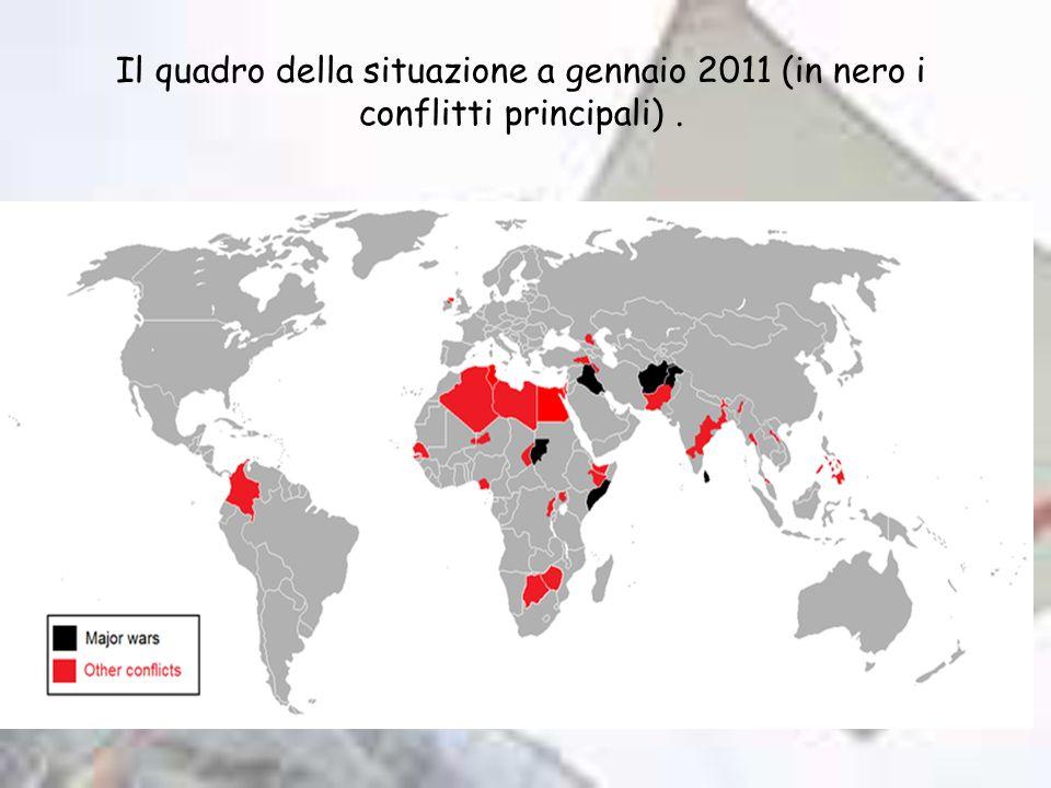 Il quadro della situazione a gennaio 2011 (in nero i conflitti principali) .