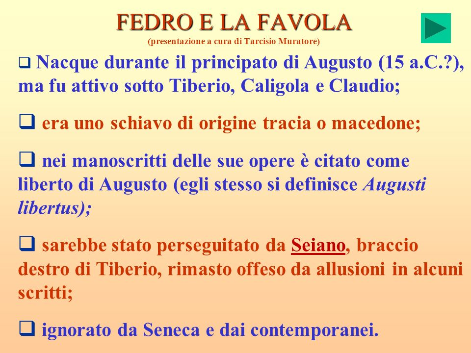 FEDRO E LA FAVOLA (presentazione a cura di Tarcisio Muratore)