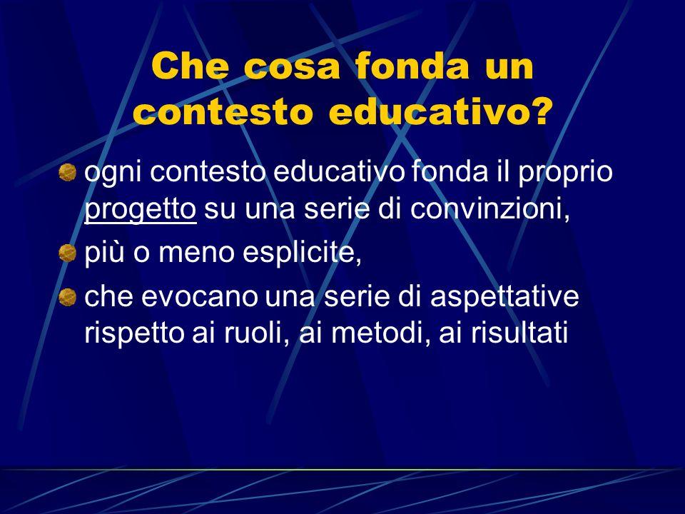 Che cosa fonda un contesto educativo