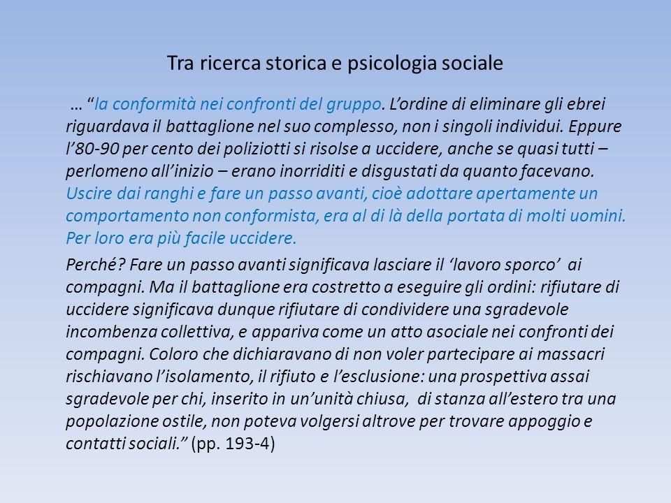 Tra ricerca storica e psicologia sociale