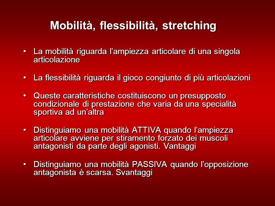 Mobilità, flessibilità, stretching