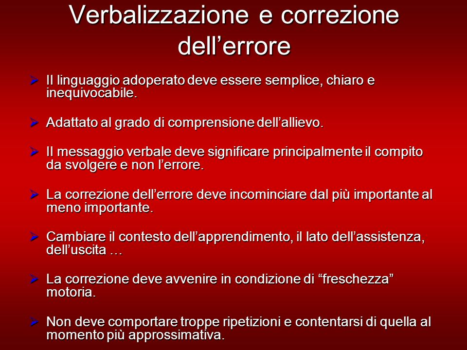 Verbalizzazione e correzione dell'errore
