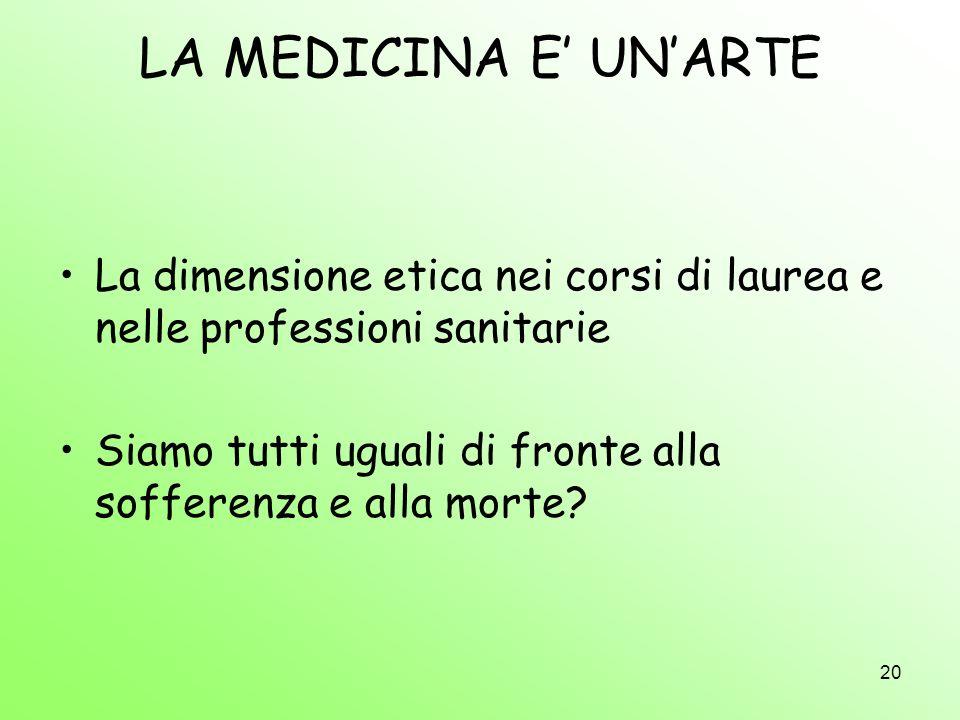 LA MEDICINA E' UN'ARTE La dimensione etica nei corsi di laurea e nelle professioni sanitarie.