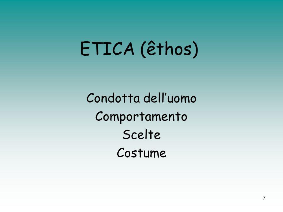 ETICA (êthos) Condotta dell'uomo Comportamento Scelte Costume