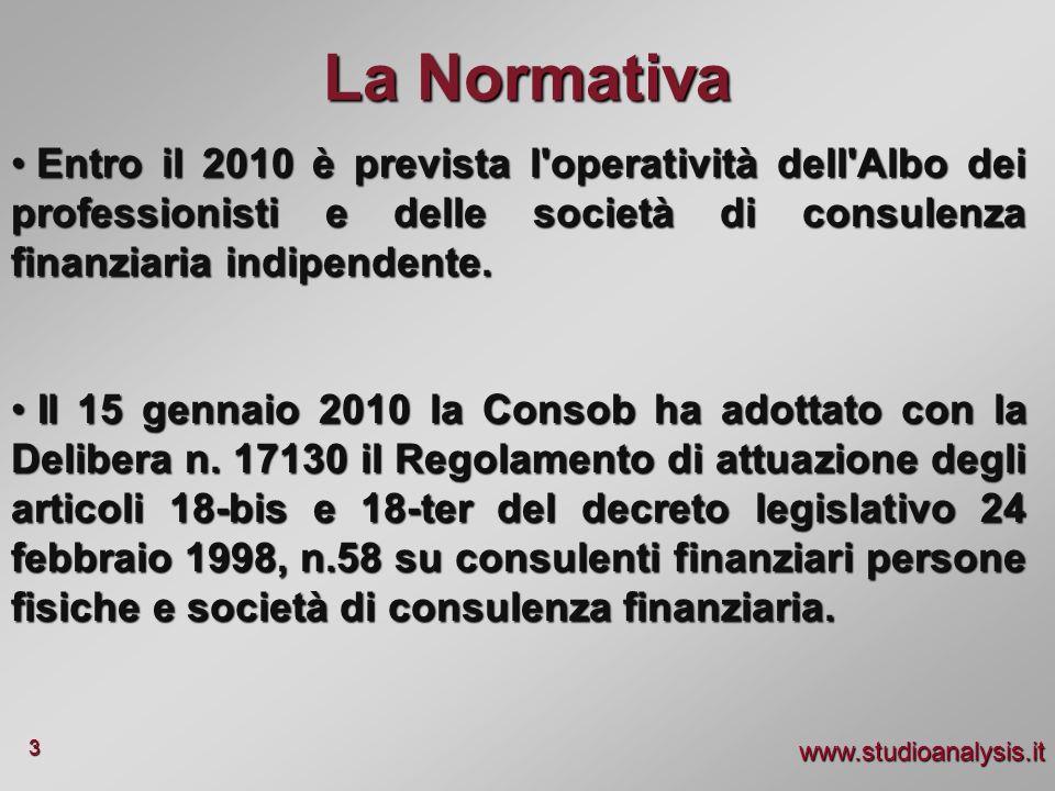 La Normativa Entro il 2010 è prevista l operatività dell Albo dei professionisti e delle società di consulenza finanziaria indipendente.