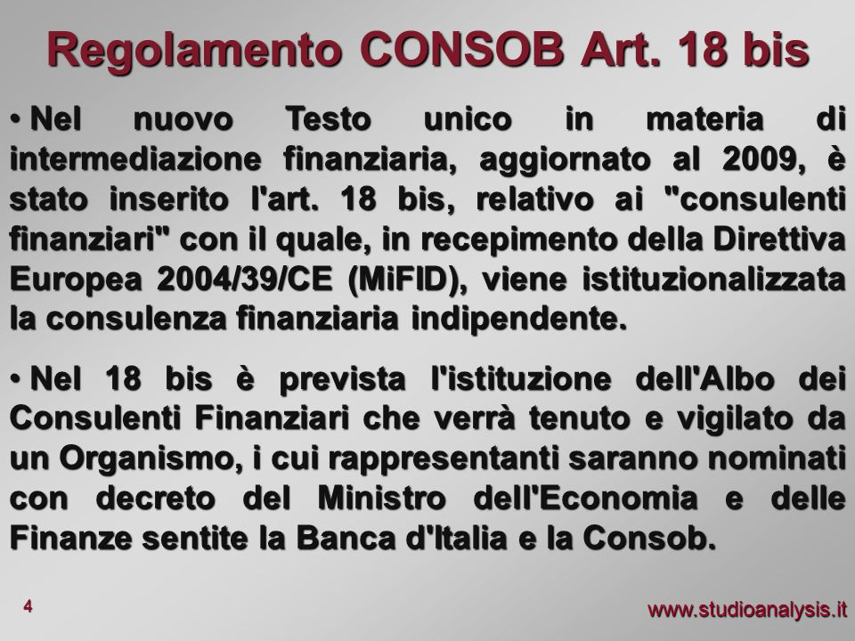 Regolamento CONSOB Art. 18 bis