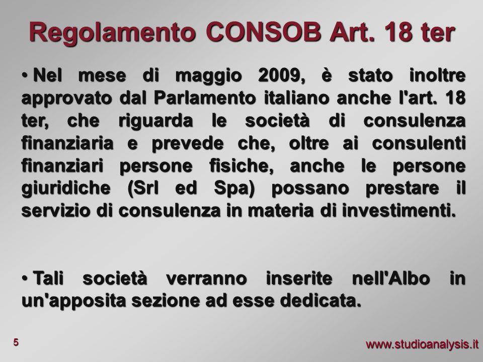 Regolamento CONSOB Art. 18 ter