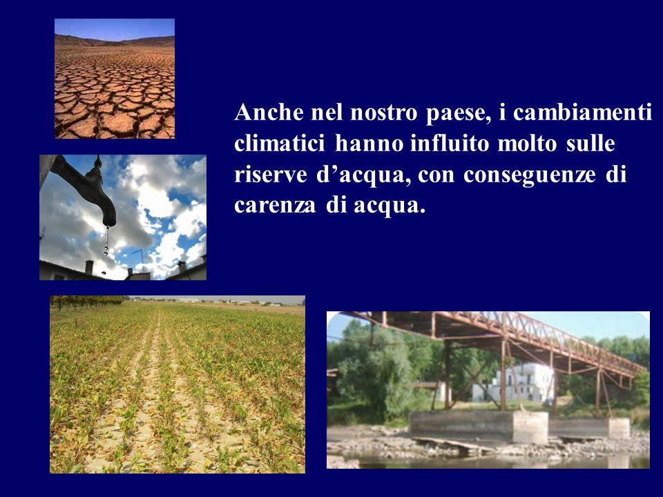 Anche nel nostro paese, i cambiamenti climatici hanno influito molto sulle riserve d'acqua, con conseguenze di carenza di acqua.