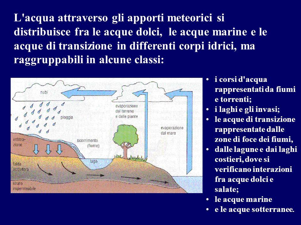 L acqua attraverso gli apporti meteorici si distribuisce fra le acque dolci, le acque marine e le acque di transizione in differenti corpi idrici, ma raggruppabili in alcune classi: