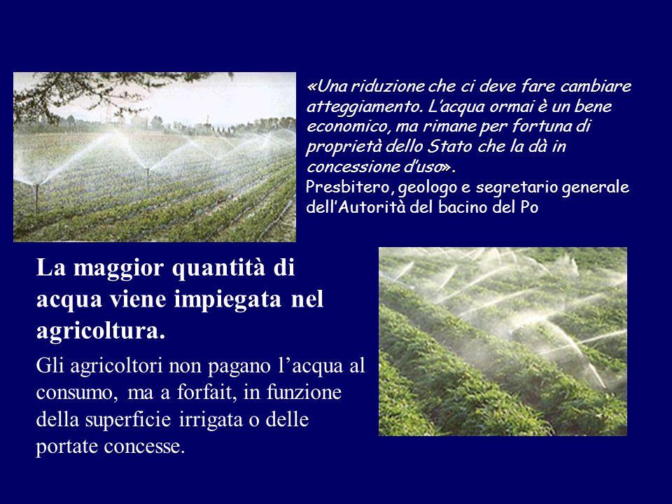 La maggior quantità di acqua viene impiegata nel agricoltura.