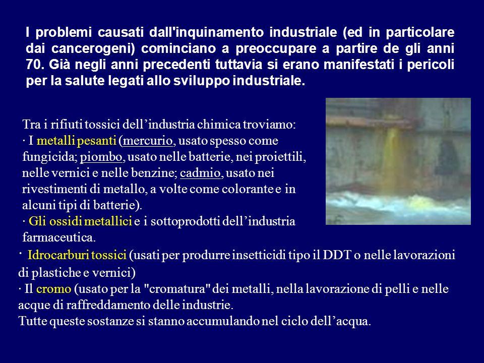 I problemi causati dall inquinamento industriale (ed in particolare dai cancerogeni) cominciano a preoccupare a partire de gli anni 70. Già negli anni precedenti tuttavia si erano manifestati i pericoli per la salute legati allo sviluppo industriale.