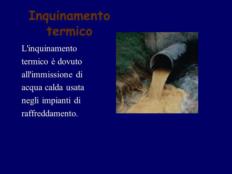 Inquinamento termico L inquinamento termico è dovuto all immissione di