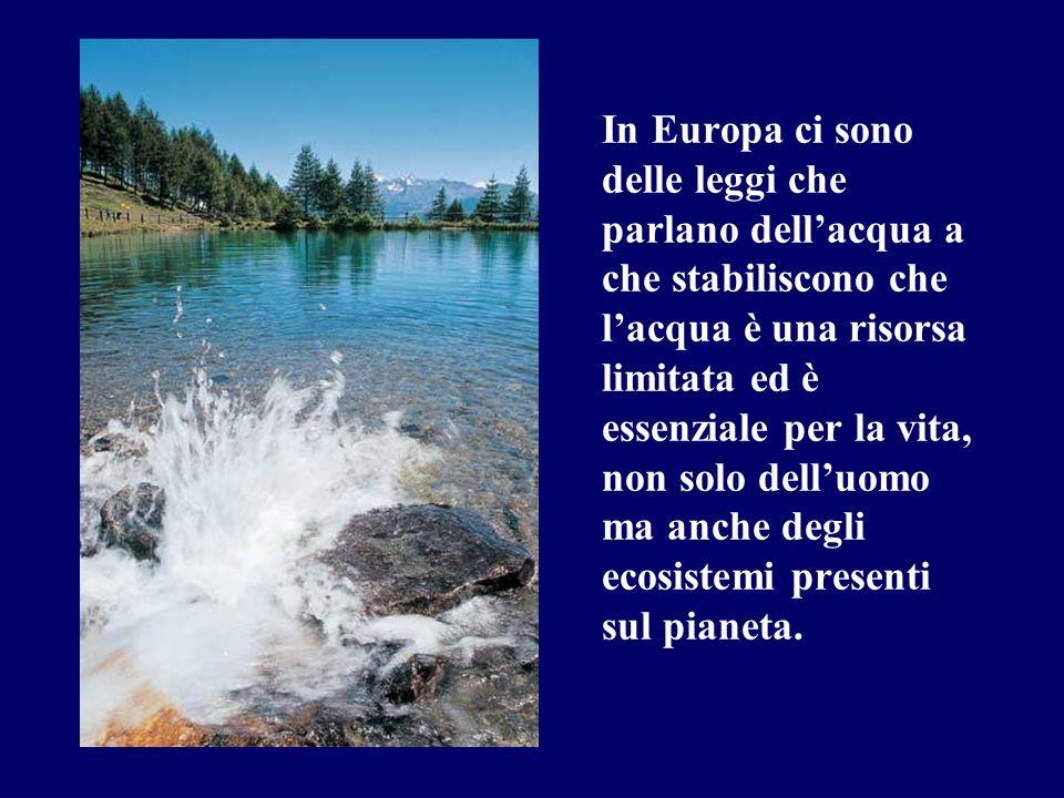 In Europa ci sono delle leggi che parlano dell'acqua a che stabiliscono che l'acqua è una risorsa limitata ed è essenziale per la vita, non solo dell'uomo ma anche degli ecosistemi presenti sul pianeta.