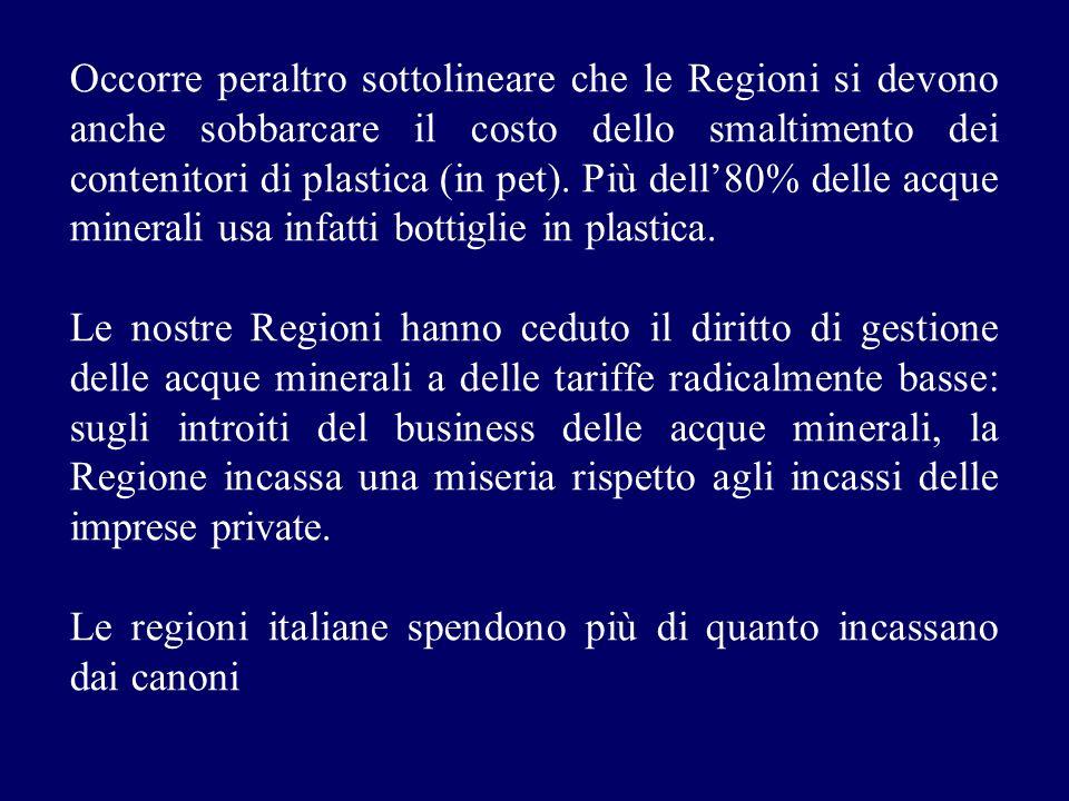 Occorre peraltro sottolineare che le Regioni si devono anche sobbarcare il costo dello smaltimento dei contenitori di plastica (in pet). Più dell'80% delle acque minerali usa infatti bottiglie in plastica.
