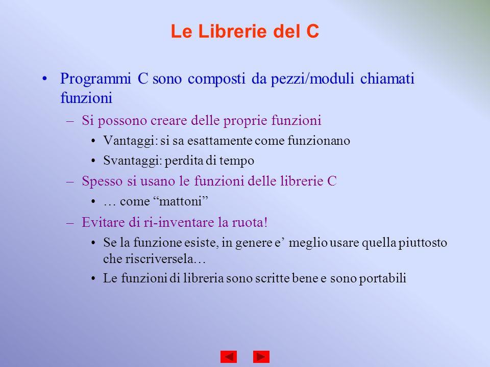 Le Librerie del C Programmi C sono composti da pezzi/moduli chiamati funzioni. Si possono creare delle proprie funzioni.