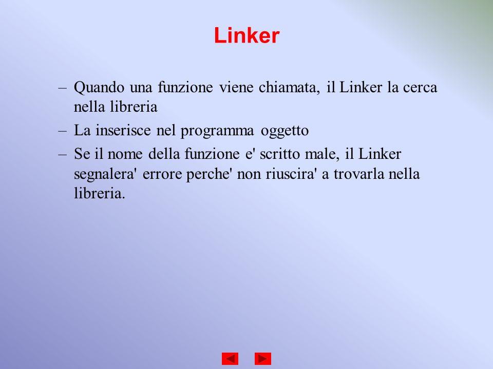 Linker Quando una funzione viene chiamata, il Linker la cerca nella libreria. La inserisce nel programma oggetto.