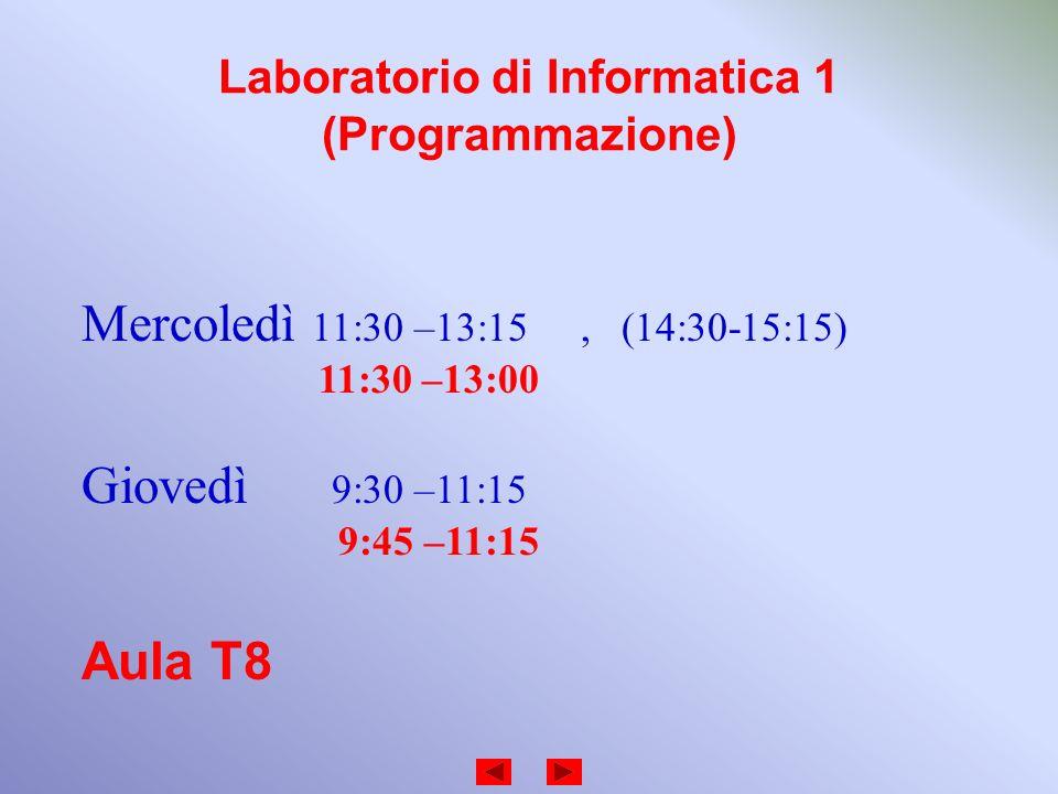 Laboratorio di Informatica 1 (Programmazione)
