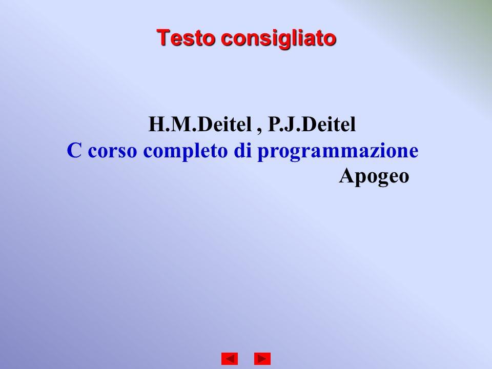 Testo consigliato H.M.Deitel , P.J.Deitel C corso completo di programmazione Apogeo