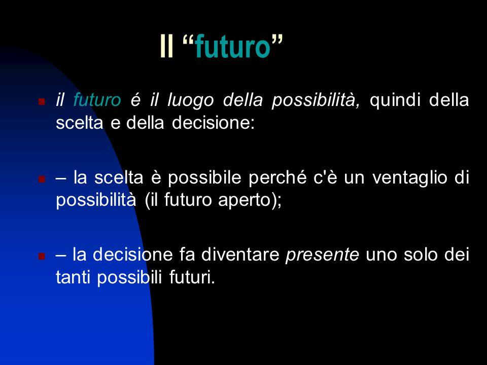 Il futuro il futuro é il luogo della possibilità, quindi della scelta e della decisione: