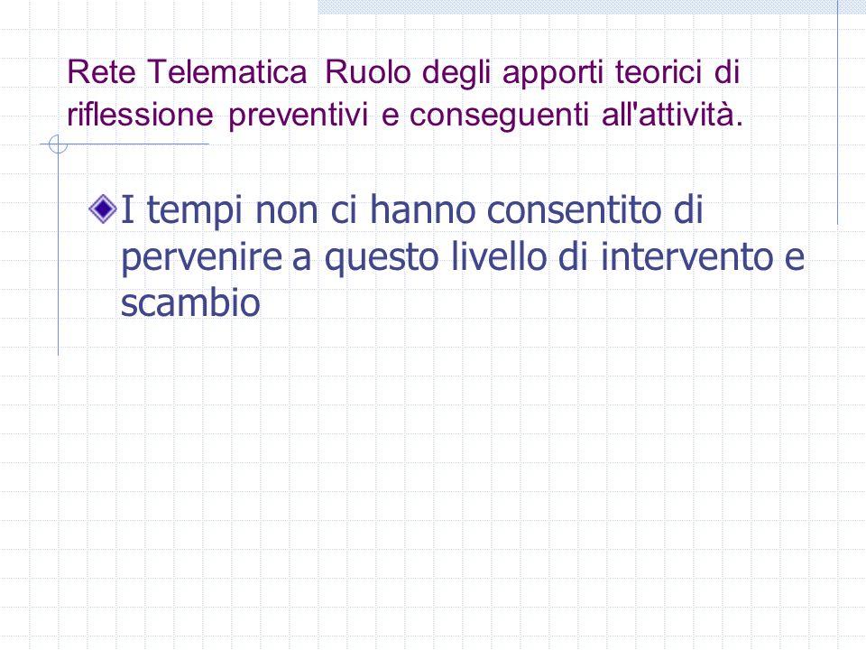 Rete Telematica Ruolo degli apporti teorici di riflessione preventivi e conseguenti all attività.