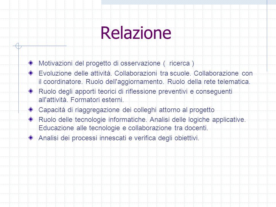 Relazione Motivazioni del progetto di osservazione ( ricerca )