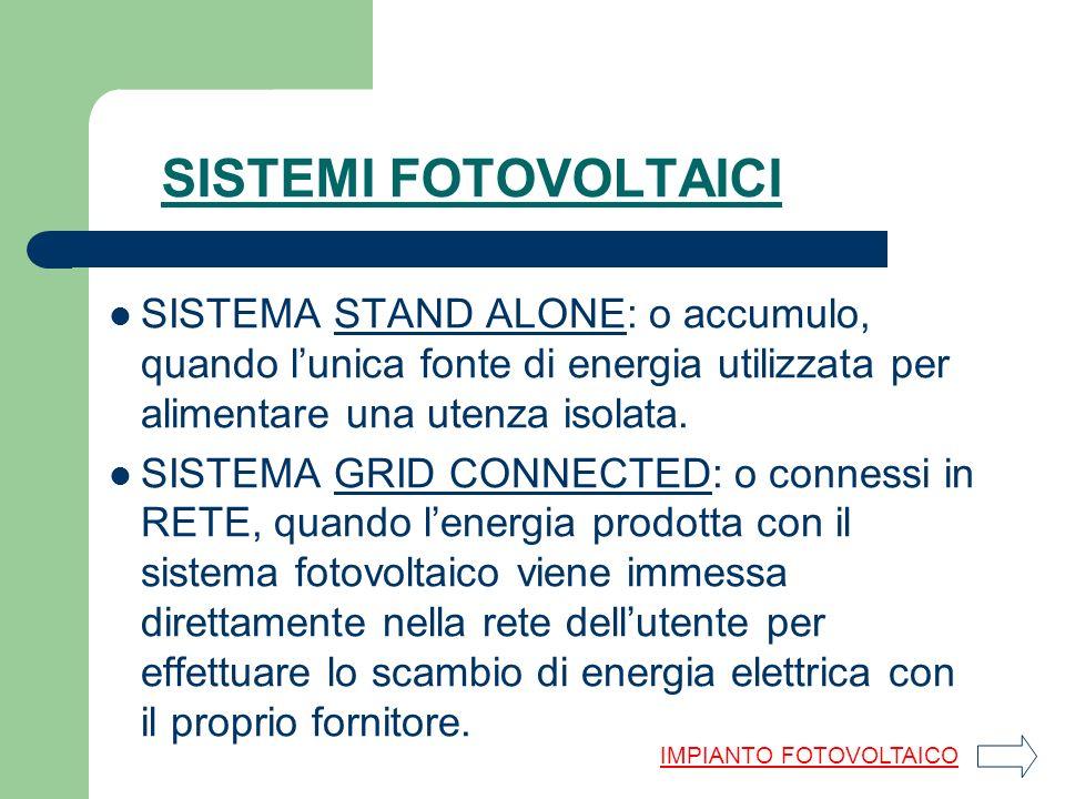 SISTEMI FOTOVOLTAICI SISTEMA STAND ALONE: o accumulo, quando l'unica fonte di energia utilizzata per alimentare una utenza isolata.