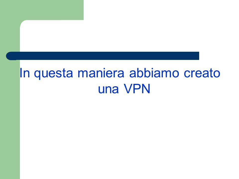 In questa maniera abbiamo creato una VPN