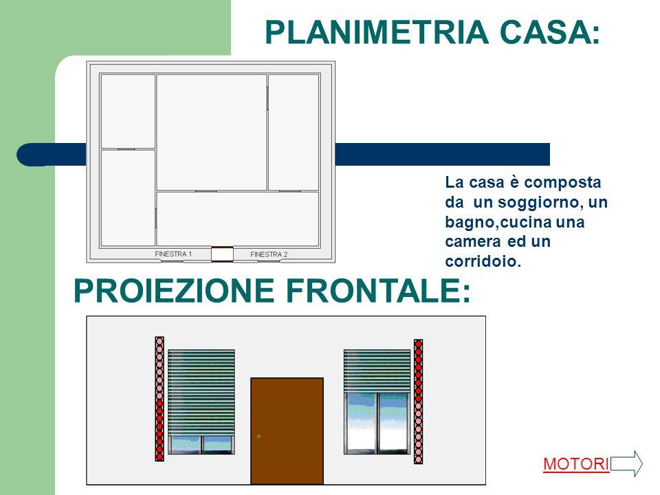 PLANIMETRIA CASA: La casa è composta da un soggiorno, un bagno,cucina una camera ed un corridoio. PROIEZIONE FRONTALE: