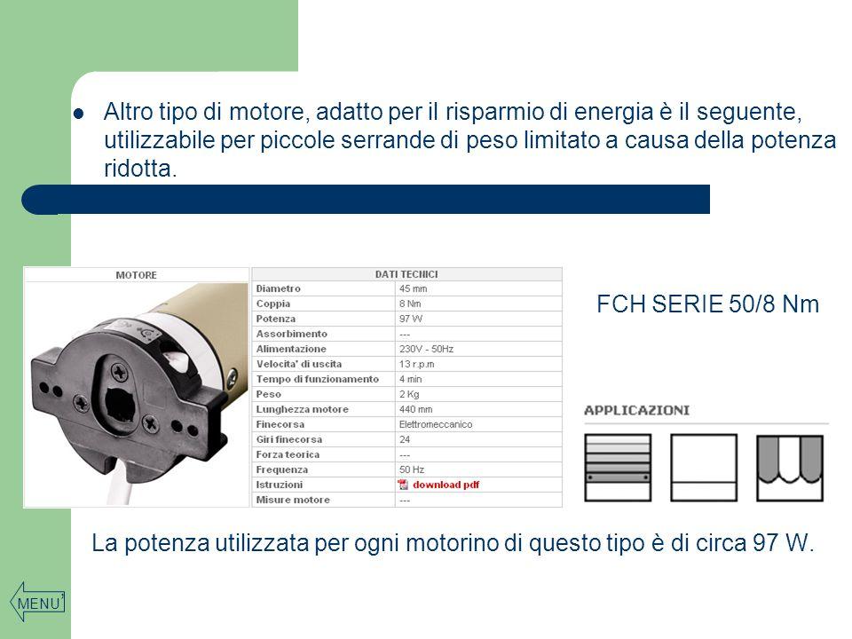 Altro tipo di motore, adatto per il risparmio di energia è il seguente, utilizzabile per piccole serrande di peso limitato a causa della potenza ridotta.