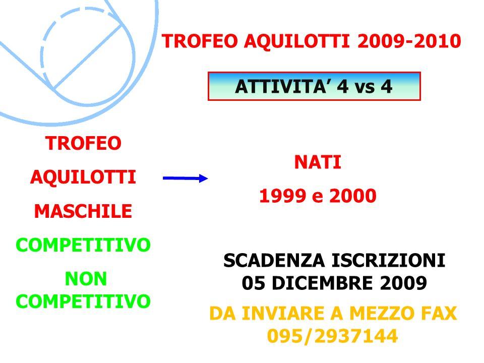 SCADENZA ISCRIZIONI 05 DICEMBRE 2009