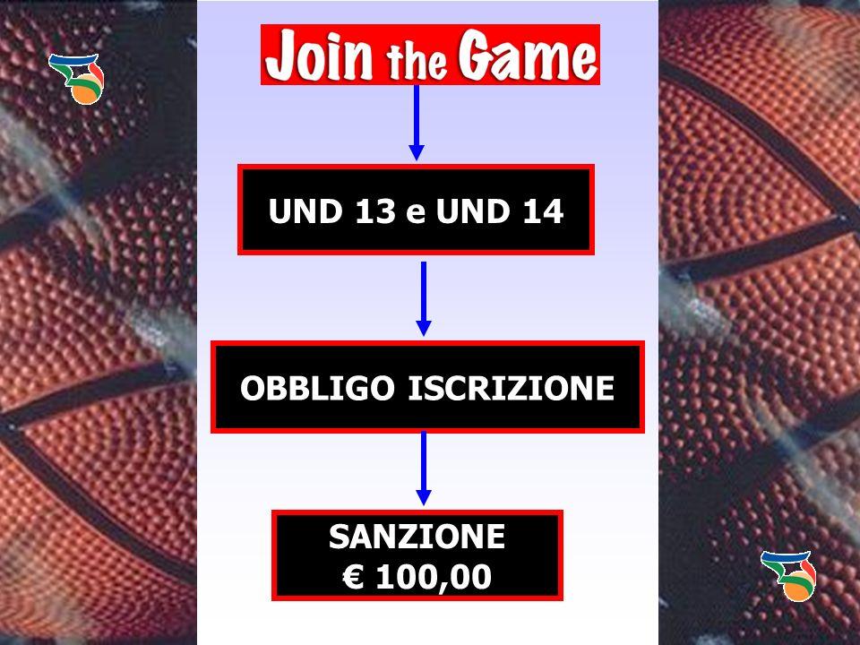 UND 13 e UND 14 OBBLIGO ISCRIZIONE SANZIONE € 100,00
