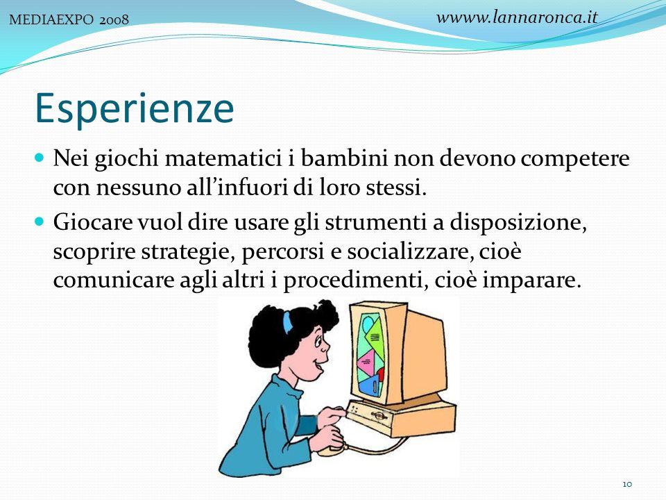 MEDIAEXPO 2008 wwww.lannaronca.it. Esperienze. Nei giochi matematici i bambini non devono competere con nessuno all'infuori di loro stessi.