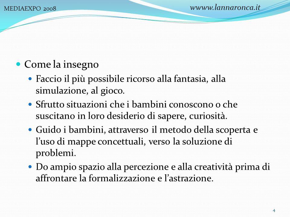 MEDIAEXPO 2008 wwww.lannaronca.it. Come la insegno. Faccio il più possibile ricorso alla fantasia, alla simulazione, al gioco.