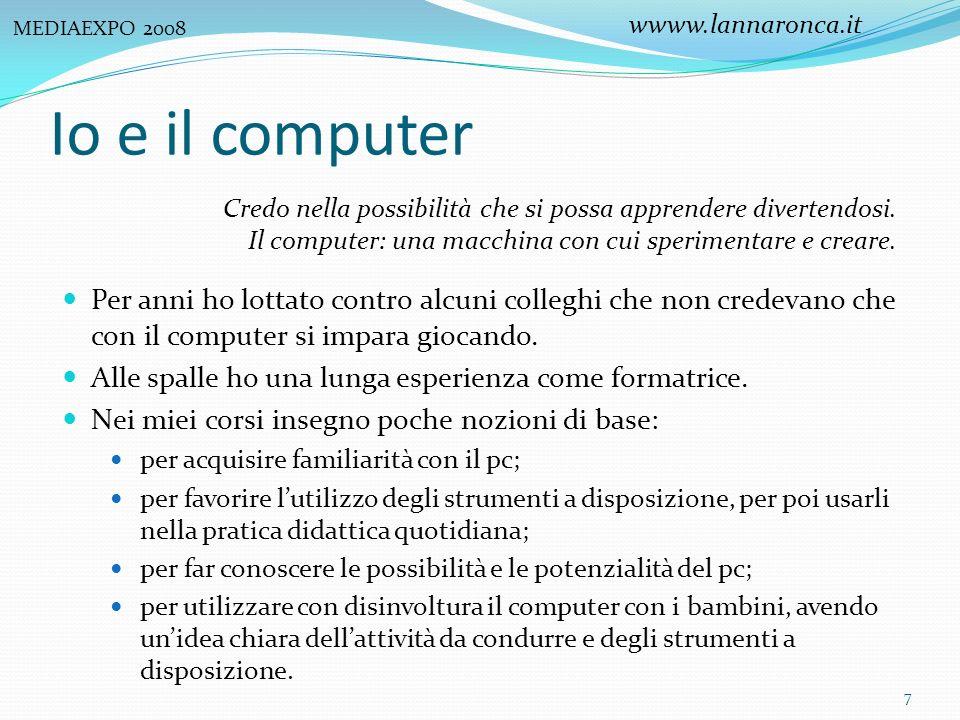 wwww.lannaronca.it MEDIAEXPO 2008. Io e il computer. Credo nella possibilità che si possa apprendere divertendosi.