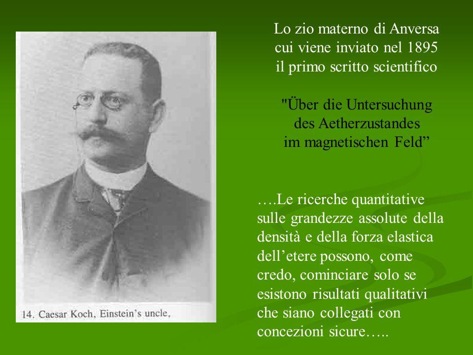 Lo zio materno di Anversa cui viene inviato nel 1895