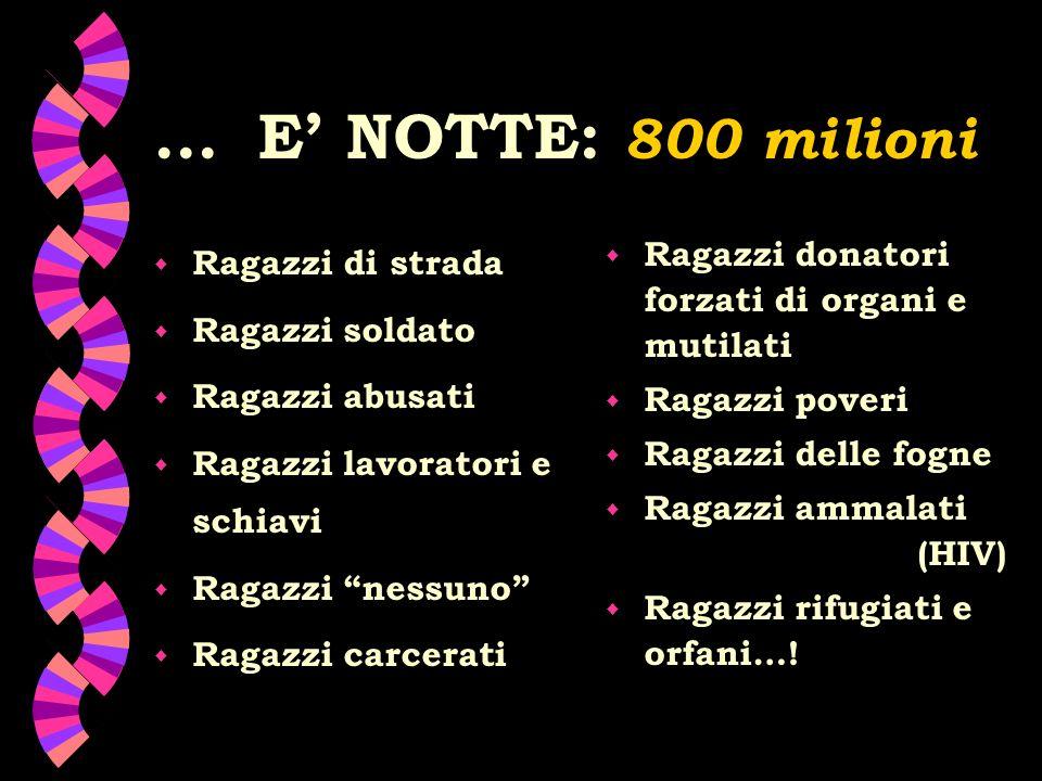 ... E' NOTTE: 800 milioni Ragazzi di strada Ragazzi soldato