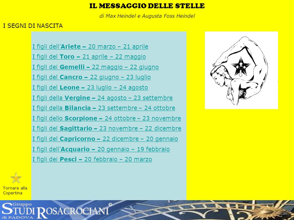 S R TUDI OSACROCIANI Gruppo di PADOVA IL MESSAGGIO DELLE STELLE