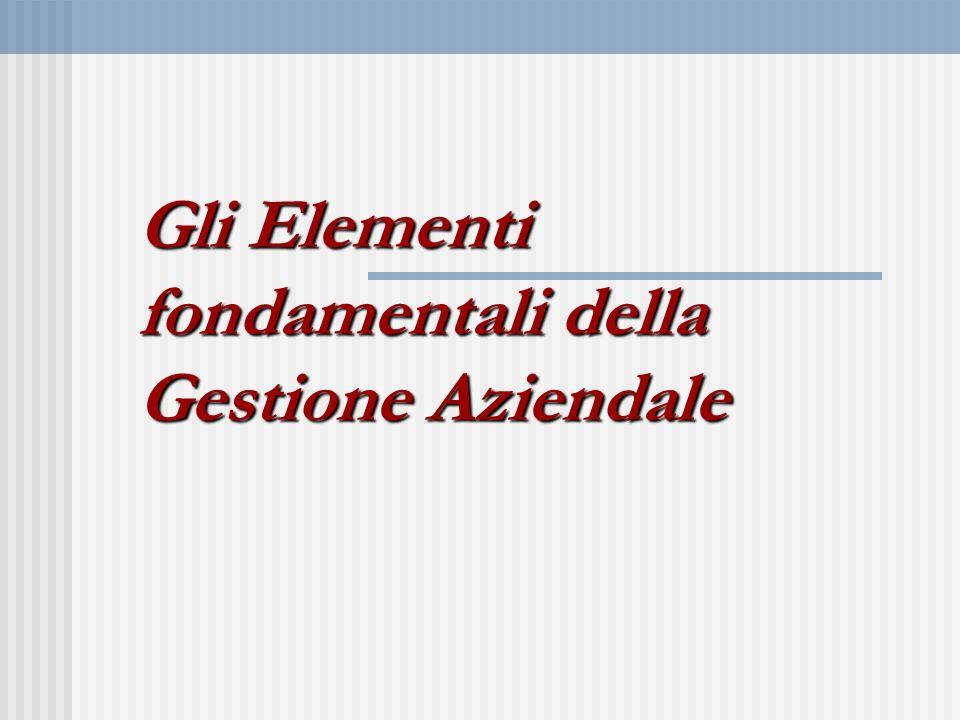 Gli Elementi fondamentali della Gestione Aziendale