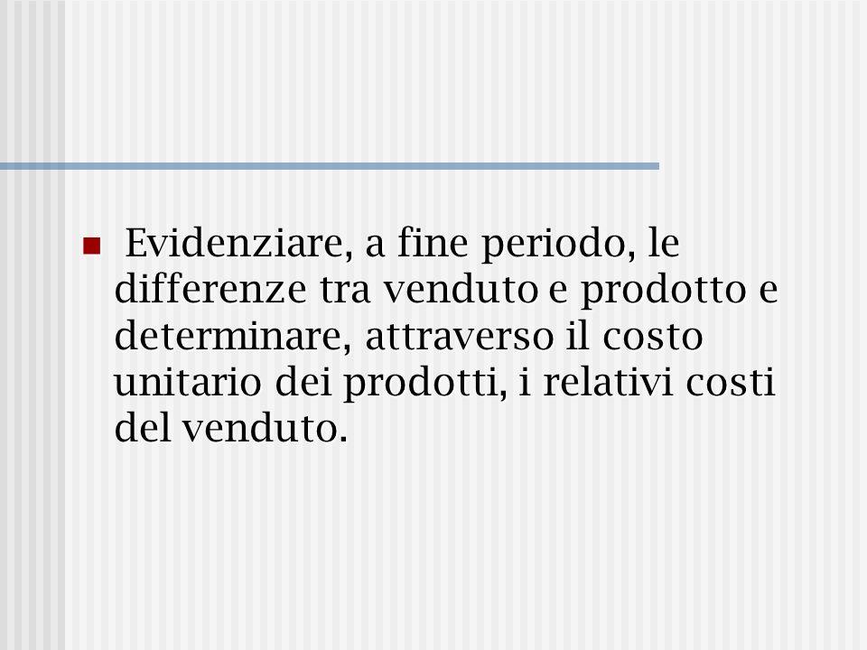 Evidenziare, a fine periodo, le differenze tra venduto e prodotto e determinare, attraverso il costo unitario dei prodotti, i relativi costi del venduto.